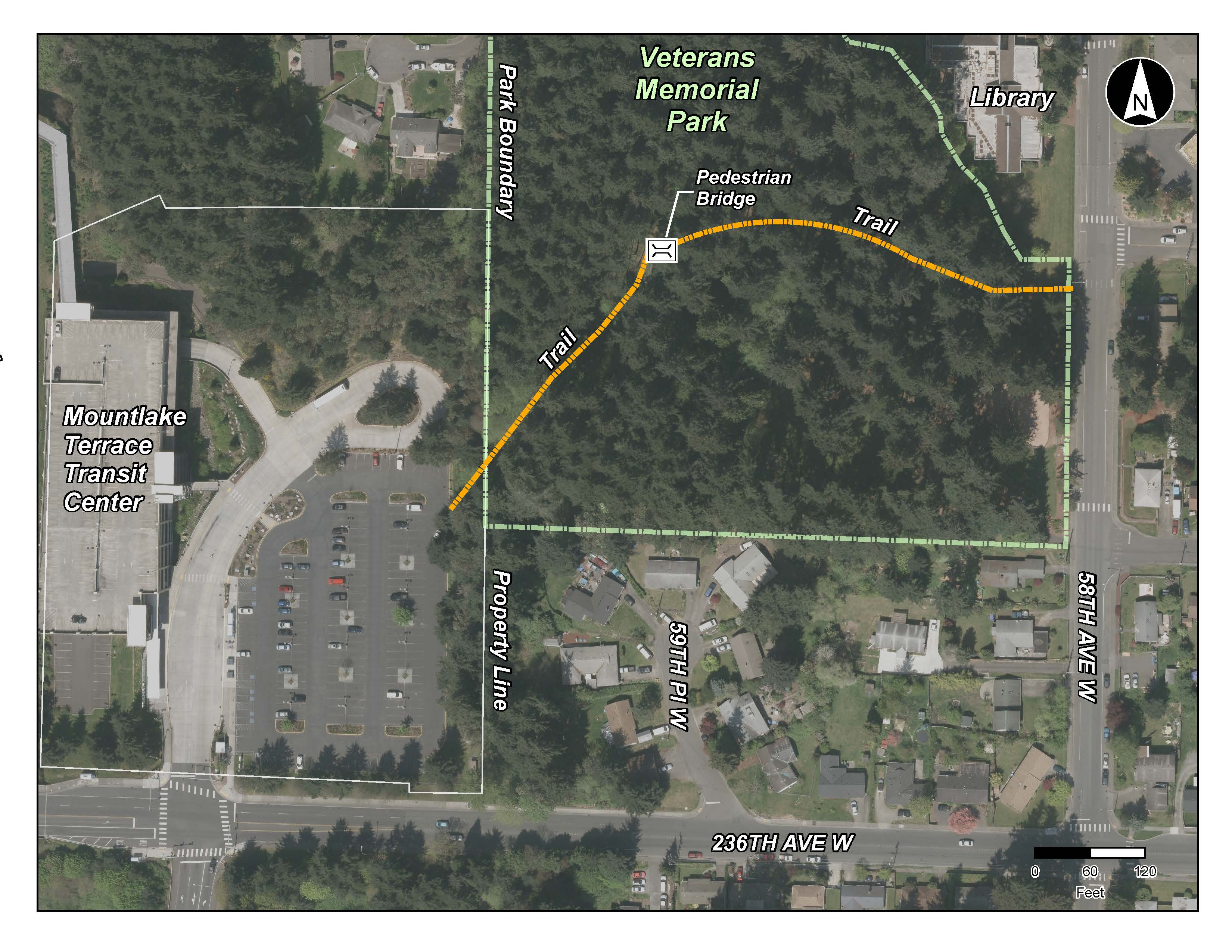 Map of Veterans Park Trail to the Transit Center